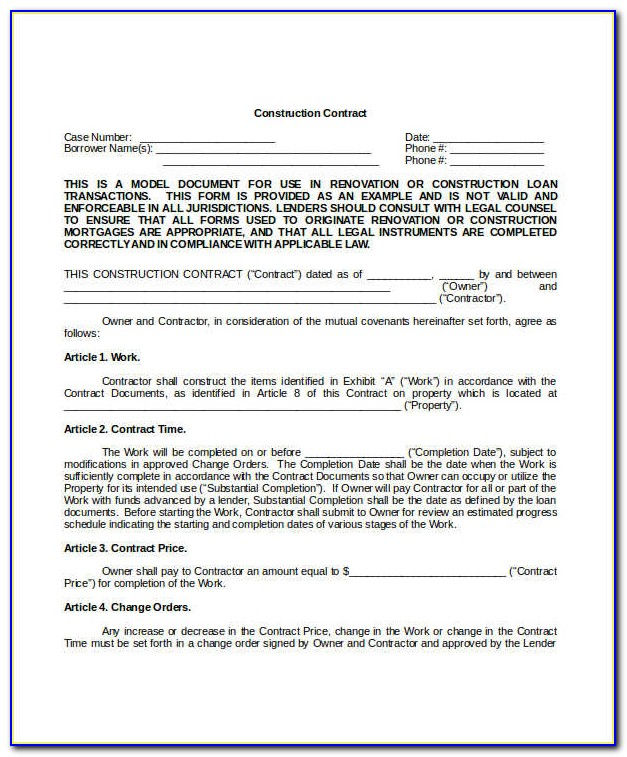 Contract For Subcontractor Template