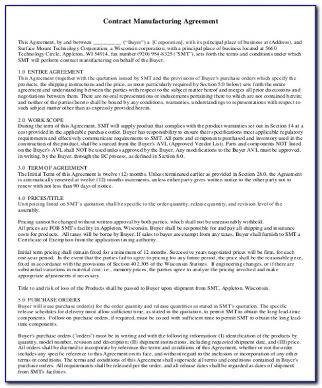 Contract Manufacturing Agreement Form