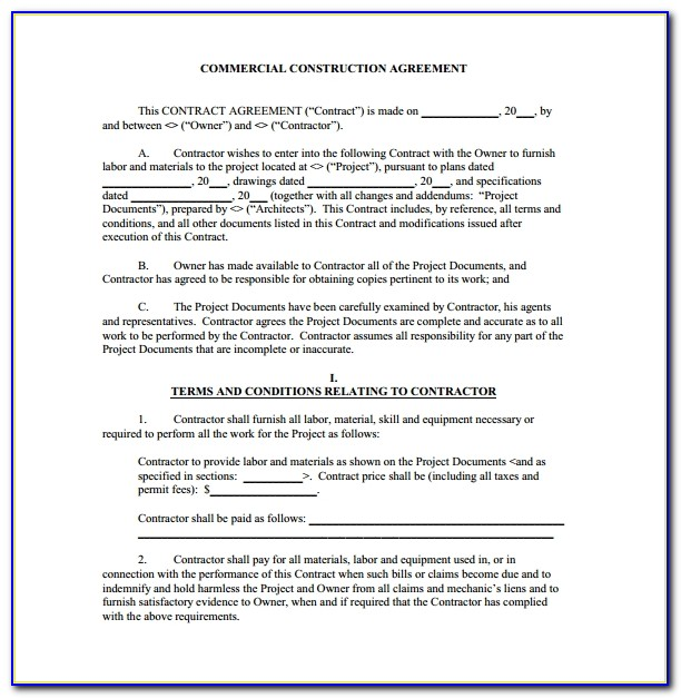 Contract Template For Construction Contractors
