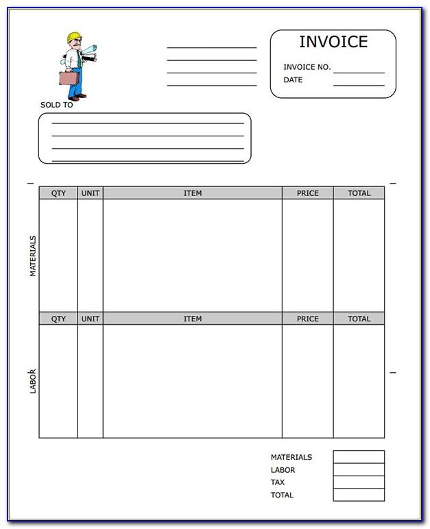 Contractor Invoice Template Pdf