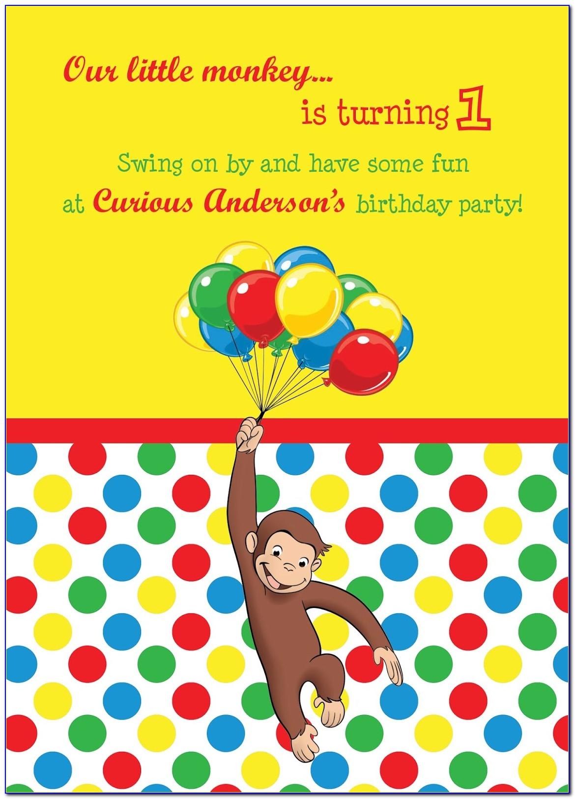 Curious George Birthday Invitation Template