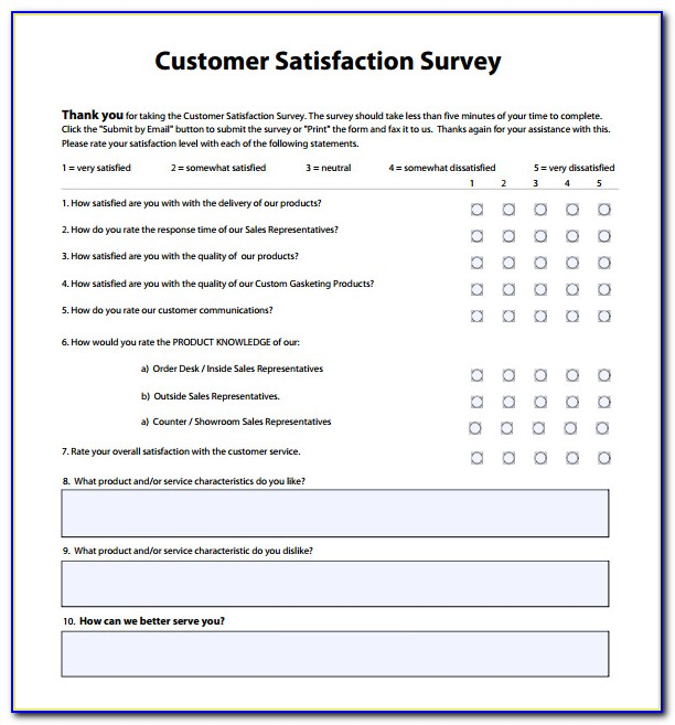 Customer Satisfaction Survey Template Doc