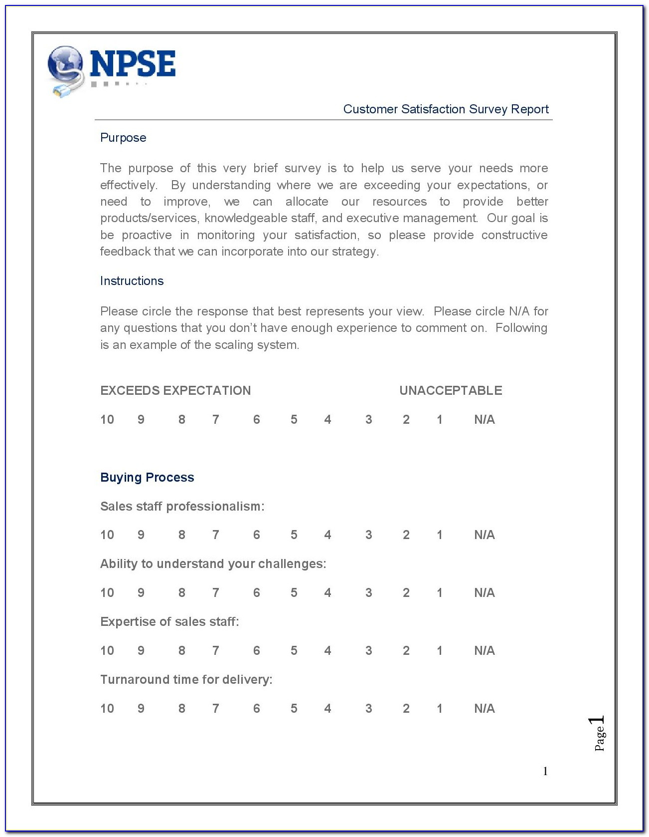 Customer Satisfaction Survey Template For Manufacturing