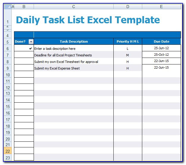 Daily Task Manager Excel Template