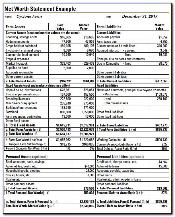 Dairy Farm Balance Sheet Example