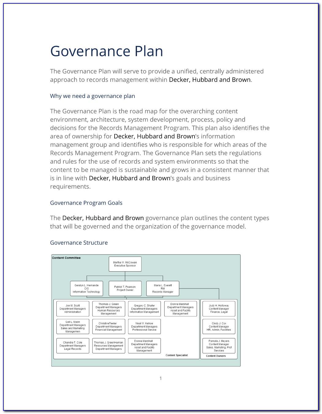 Data Governance Communication Plan Template
