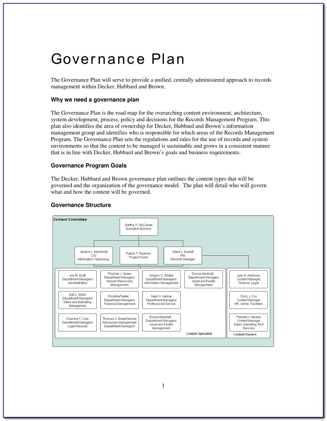 Data Governance Implementation Plan Template