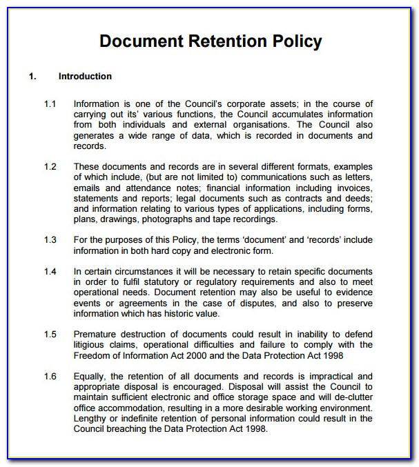 Data Retention Policy Template Free Uk 2018