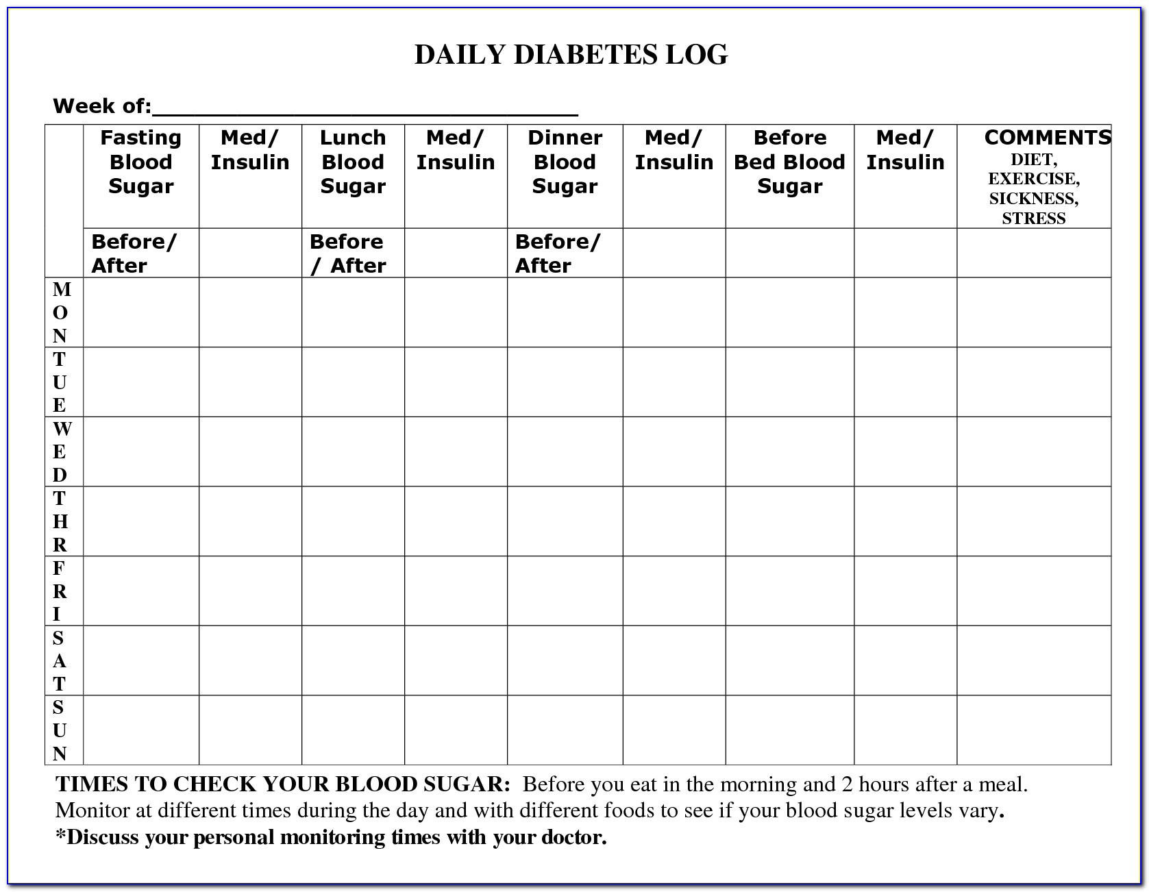 Diabetic Daily Food Diary Template