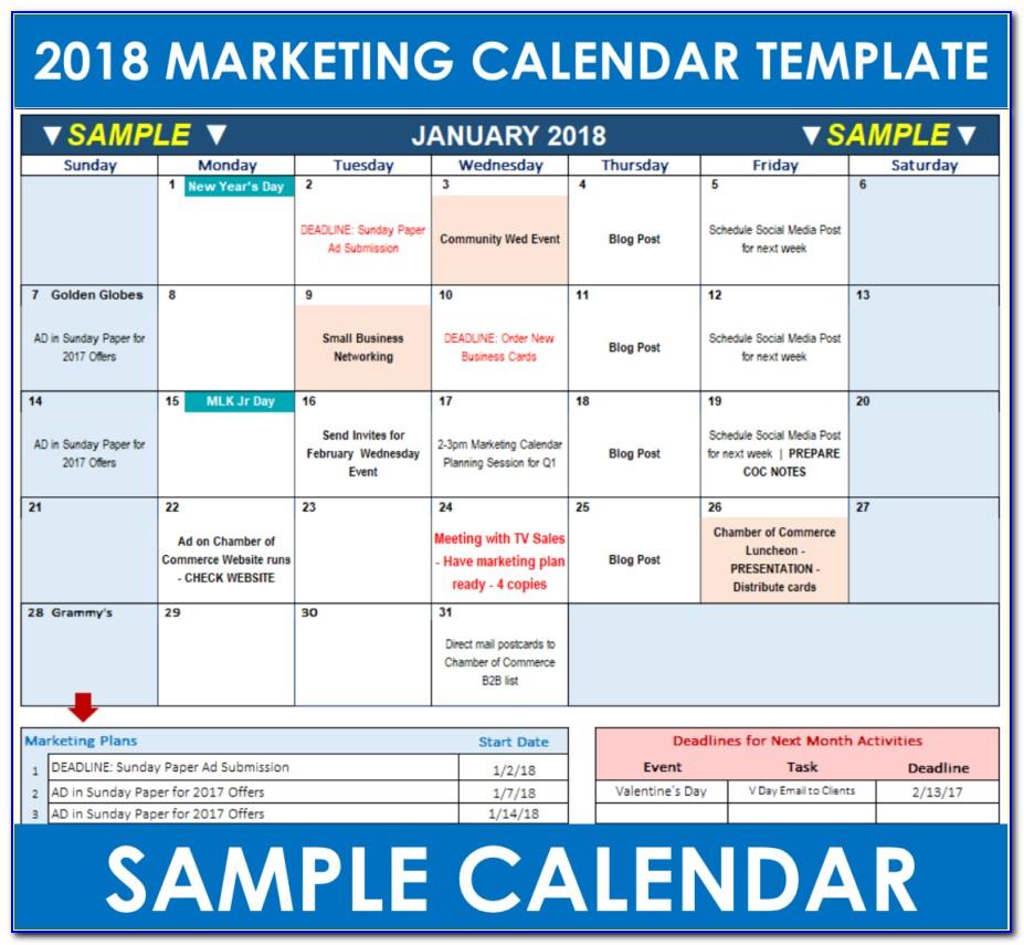 Digital Marketing Calendar Template Excel