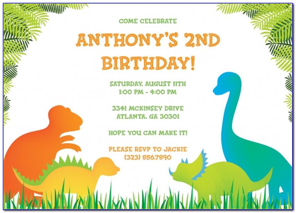 Dinosaur Birthday Invitation Template Free