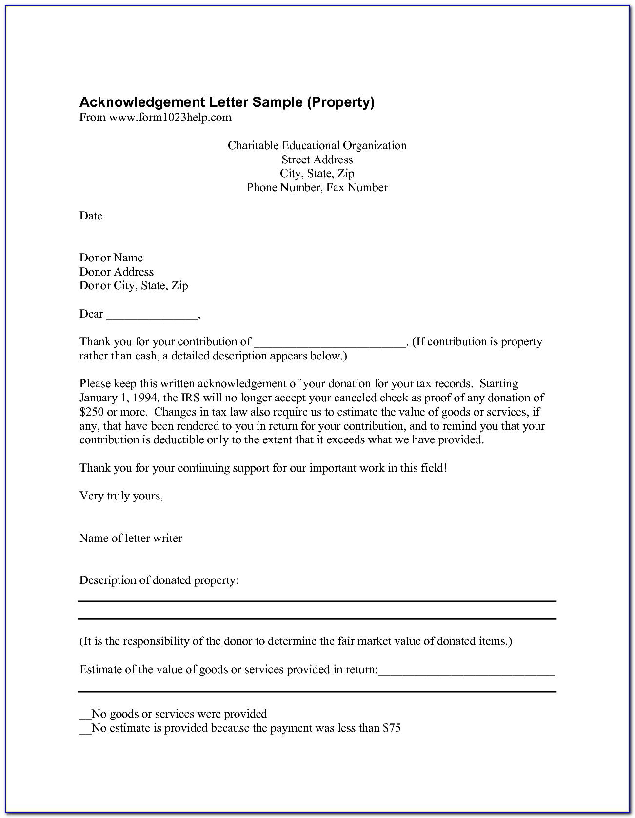 Donation Letter Template For Tax Purposes