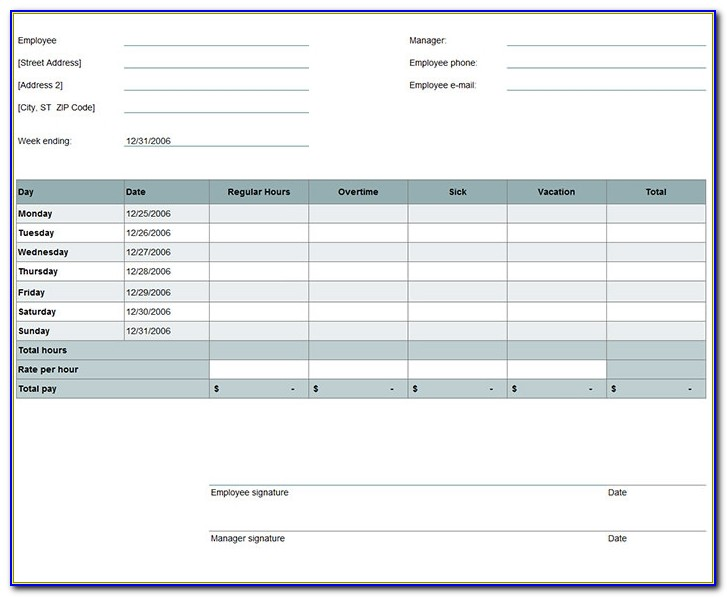 Download Monthly Timesheet Template