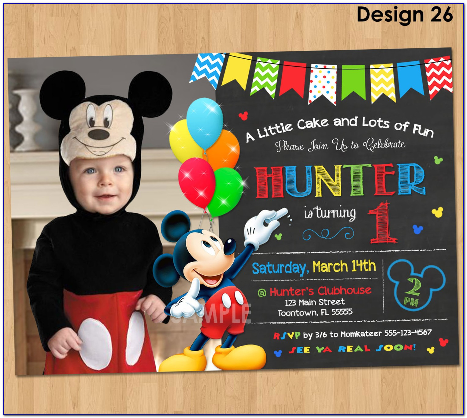 Downloadable Mickey Mouse 1st Birthday Invitations