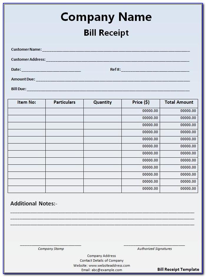 Downloadable Receipt Form