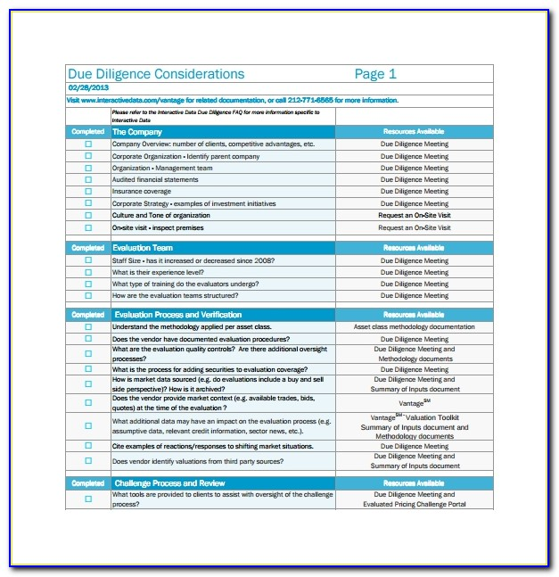 Due Diligence Report Template Doc