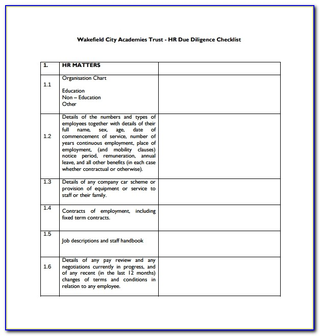 Due Diligence Report Template Word