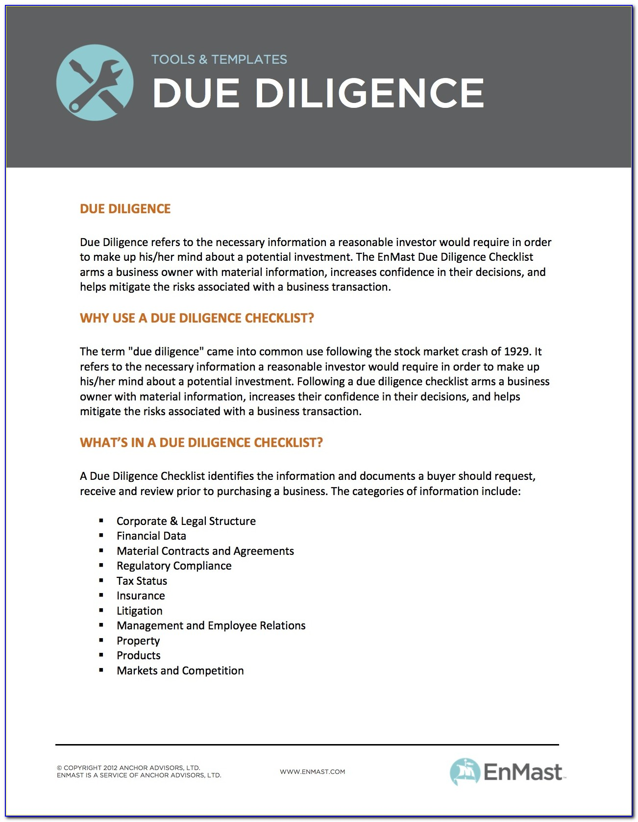 Due Diligence Template Excel
