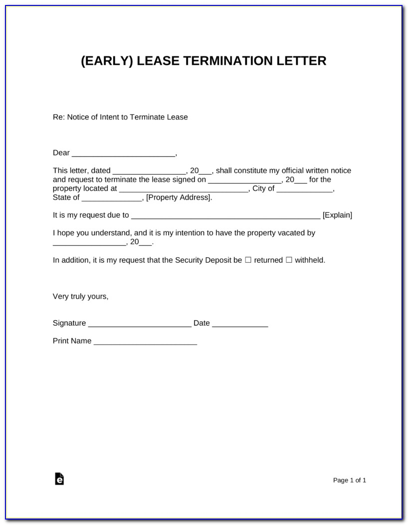 Early Termination Of Commercial Lease Agreement Template