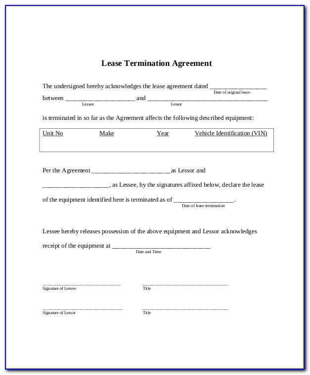 Early Termination Of Tenancy Agreement Template