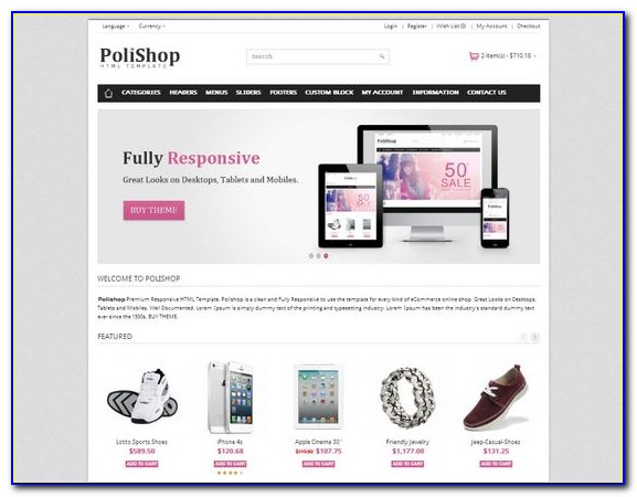 Ecommerce Website Templates Free Download Responsive