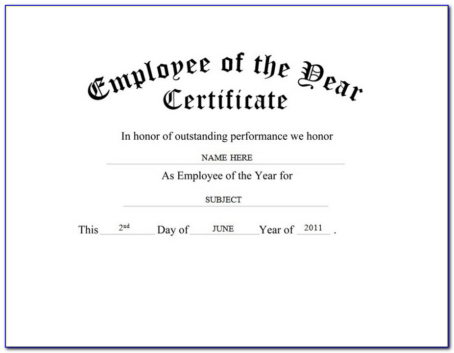 Employee Of The Year Certificate Template Word