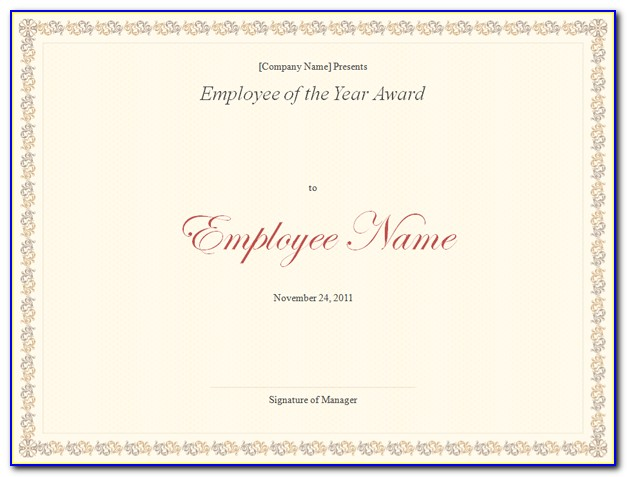 Employee Of The Year Certificate Templates Free