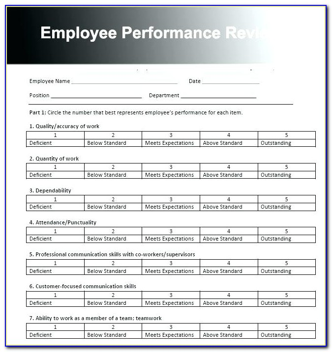 Employee Performance Appraisal Examples