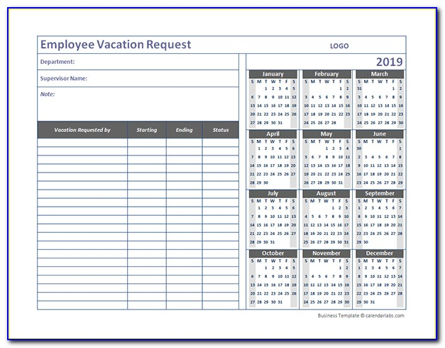 Employee Vacation Calendar Template 2019