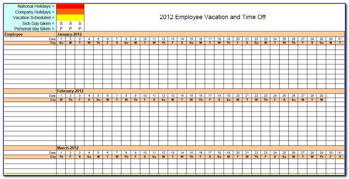 Employee Vacation Requests Calendar Template
