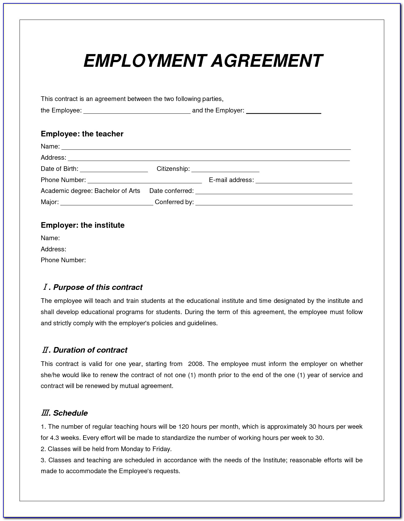 Employer Contract Template