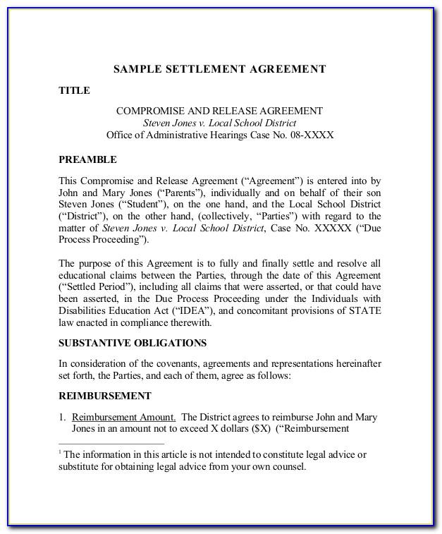 Employment Settlement Agreement Template South Africa