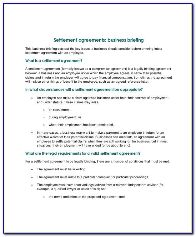 Employment Termination Settlement Agreement Template