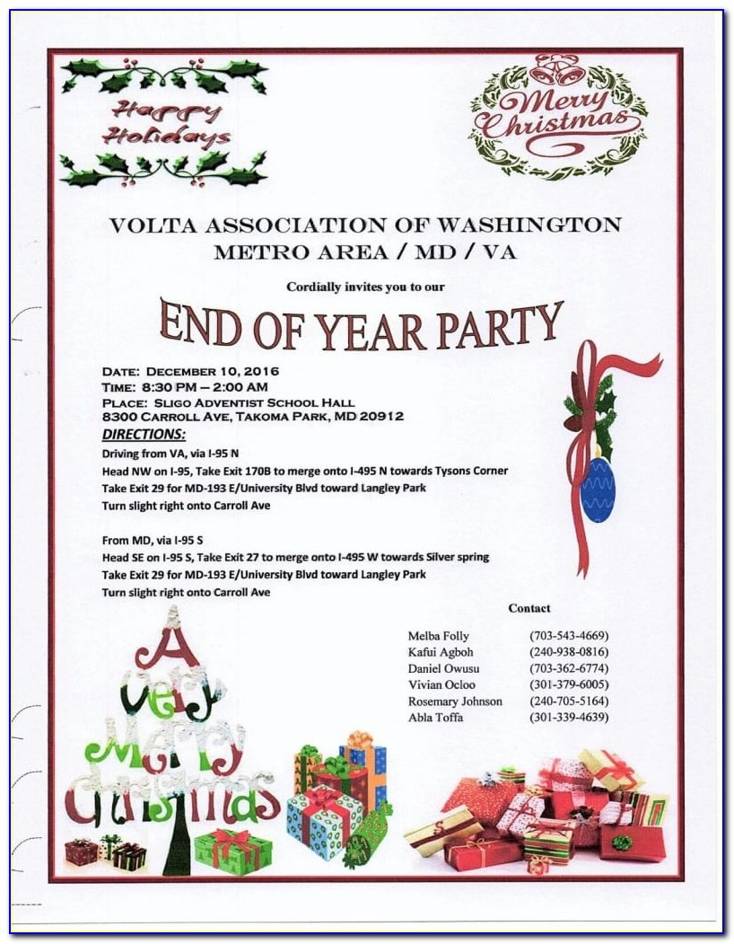 End Of The Year Party Invitation Templates