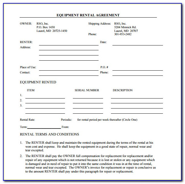 Equipment Rental Lease Agreement Template