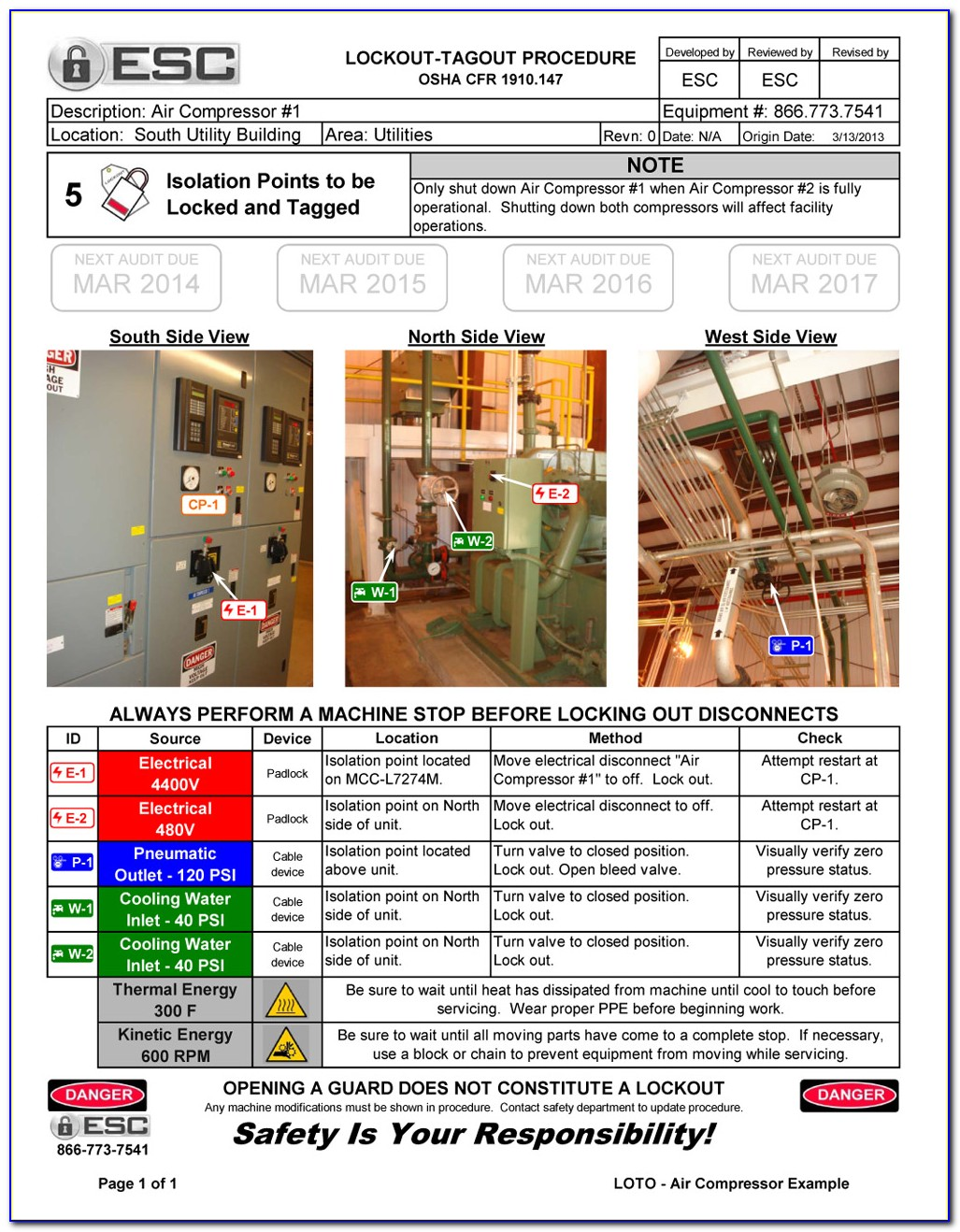 Equipment Specific Lockout Tagout Procedure Template