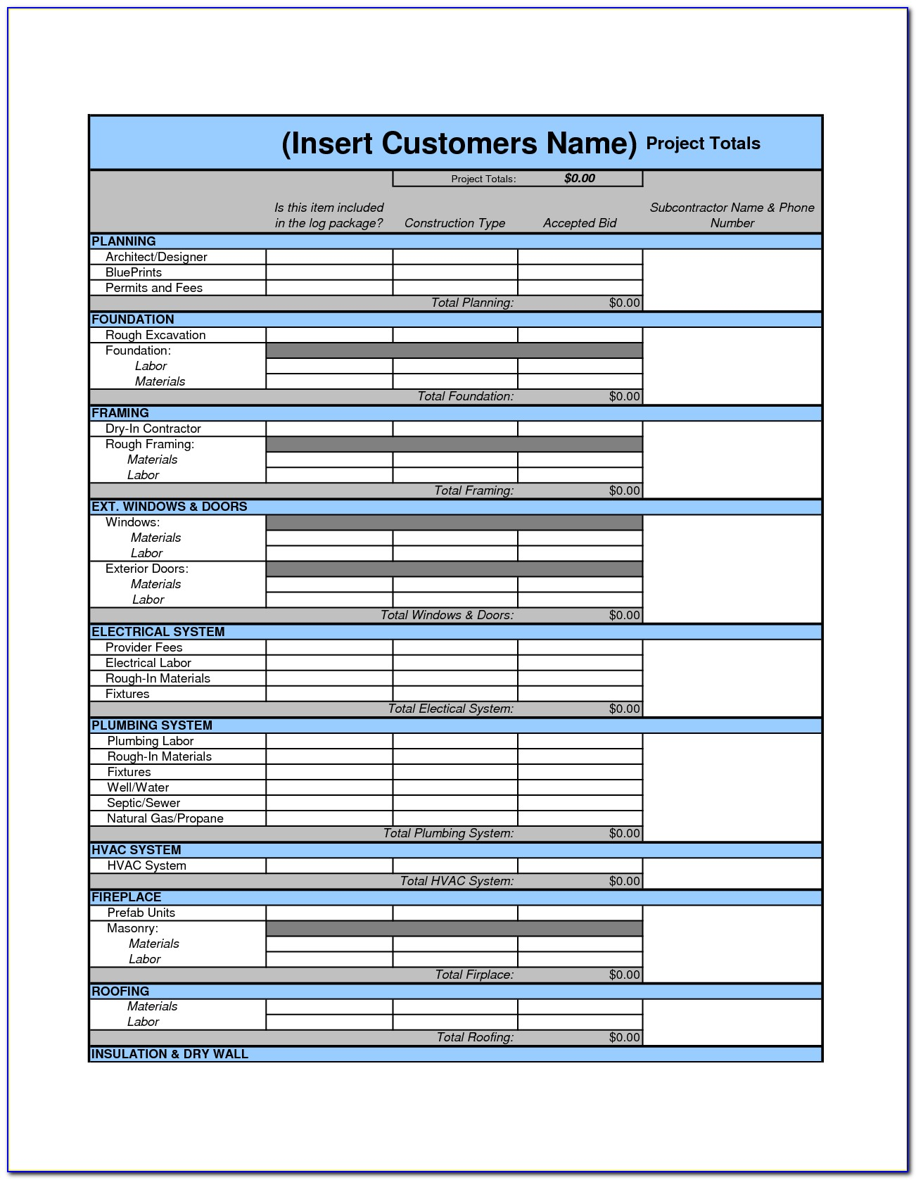 Estimate Worksheet Template