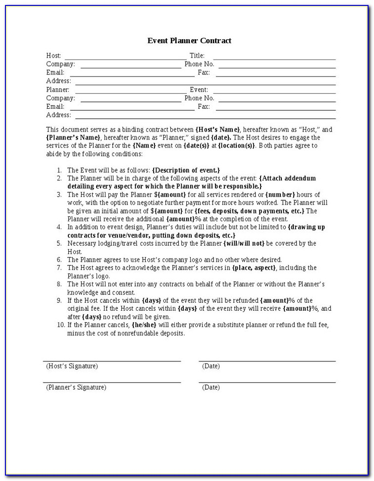 Event Management Contract Template Free