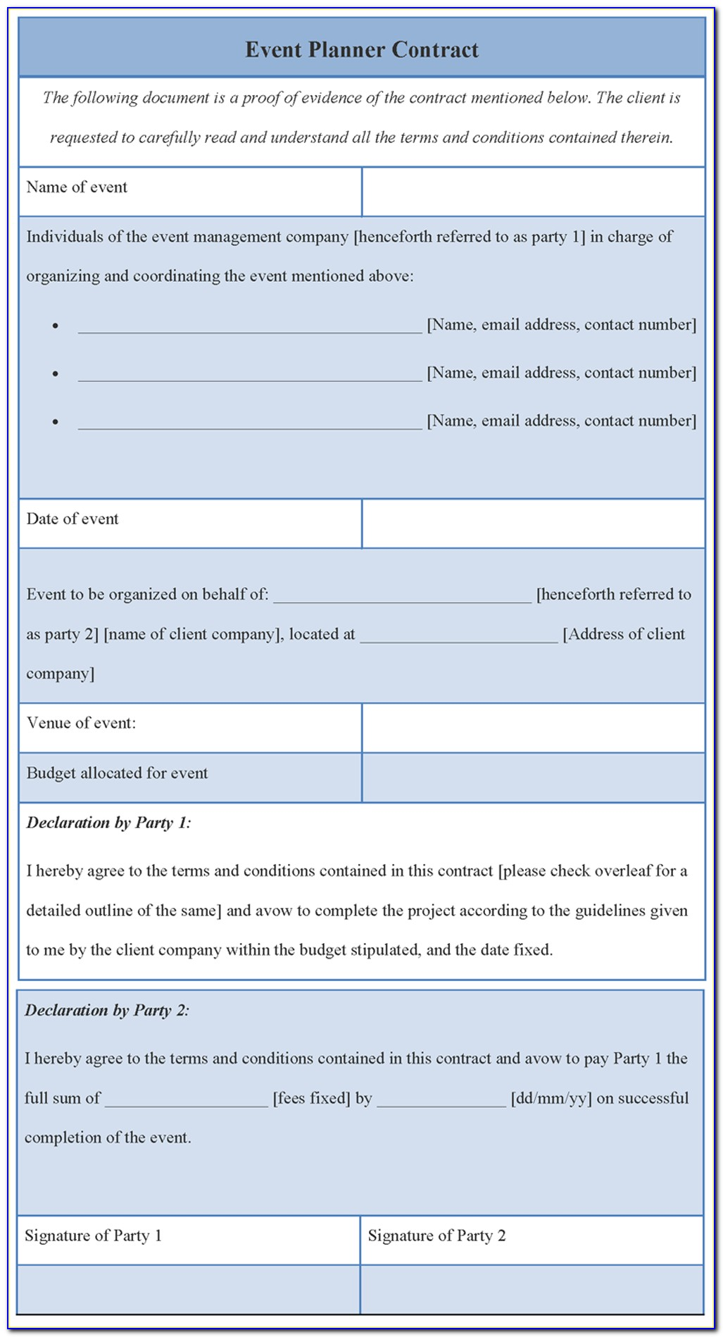 Event Planning Contract Template Word