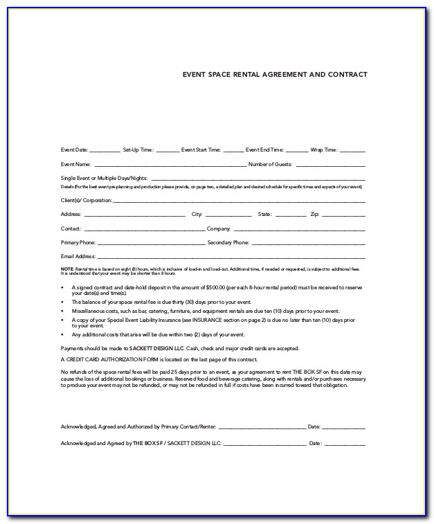 Event Rental Contract Template