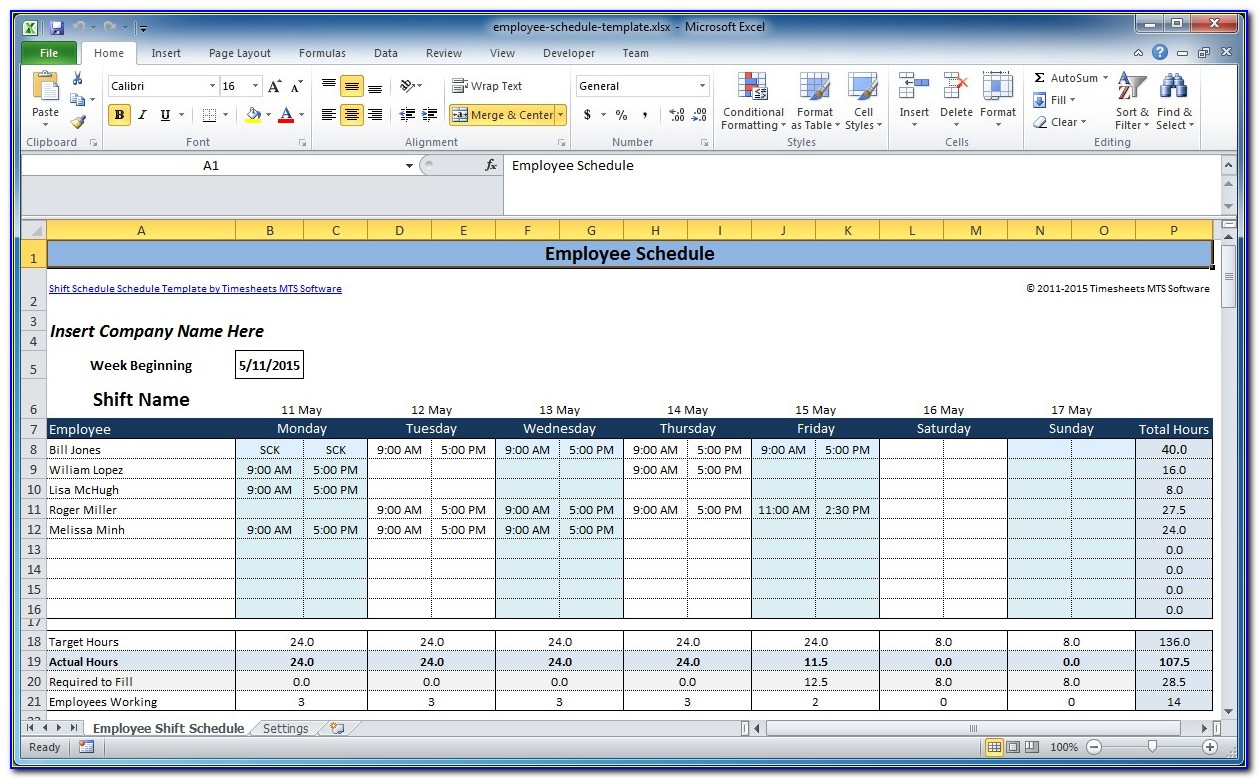 Excel Work Schedule Template Weekly