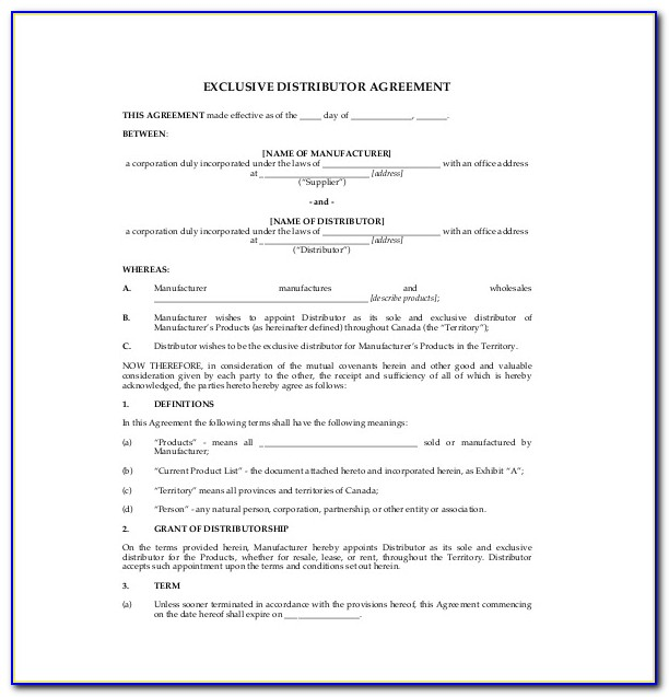 Exclusive International Distribution Agreement Template