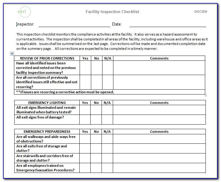 Facility Maintenance Checklist Template