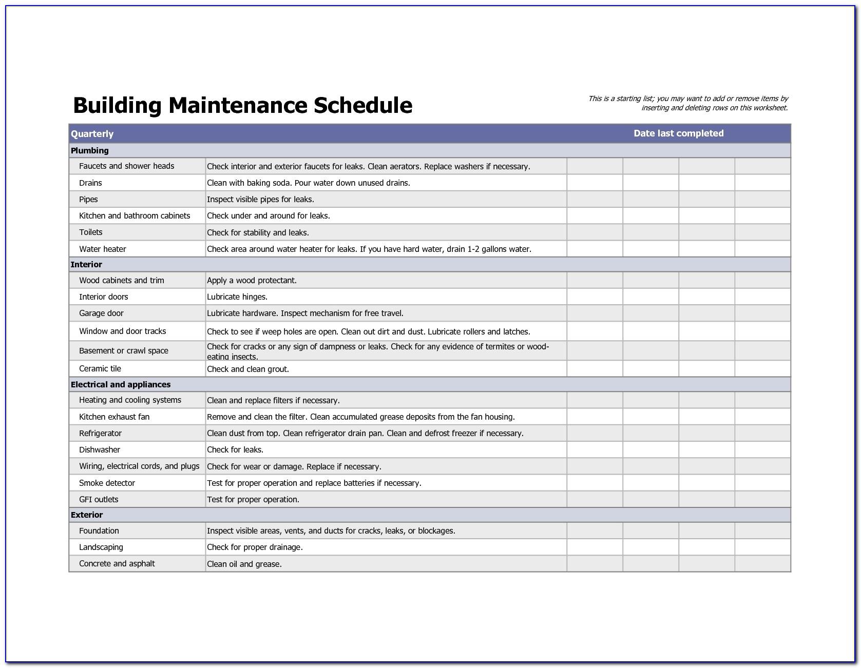 Building Maintenance Schedule Excel Template | Home Maintenance With Home Maintenance Spreadsheet