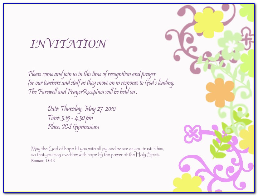 Farewell Party Invitation Card Format