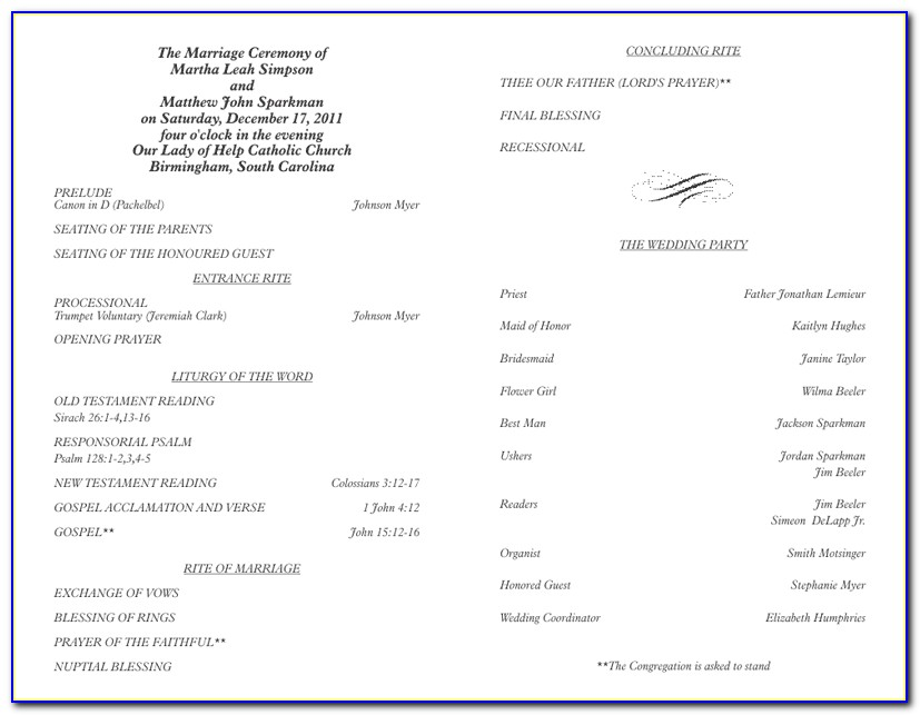 Filipino Catholic Wedding Ceremony Program Template
