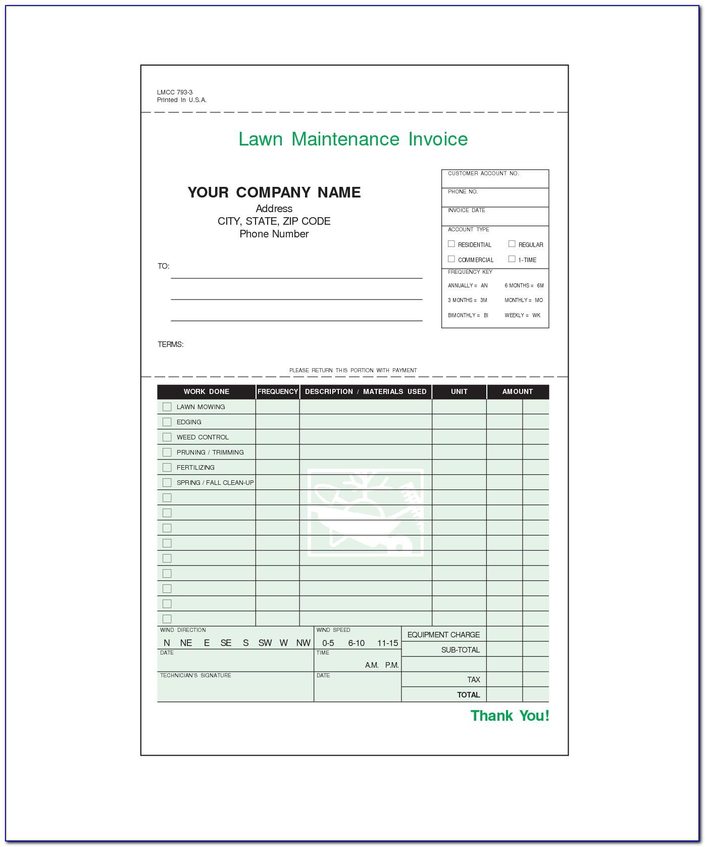 Fillable Lawn Care Invoice Template