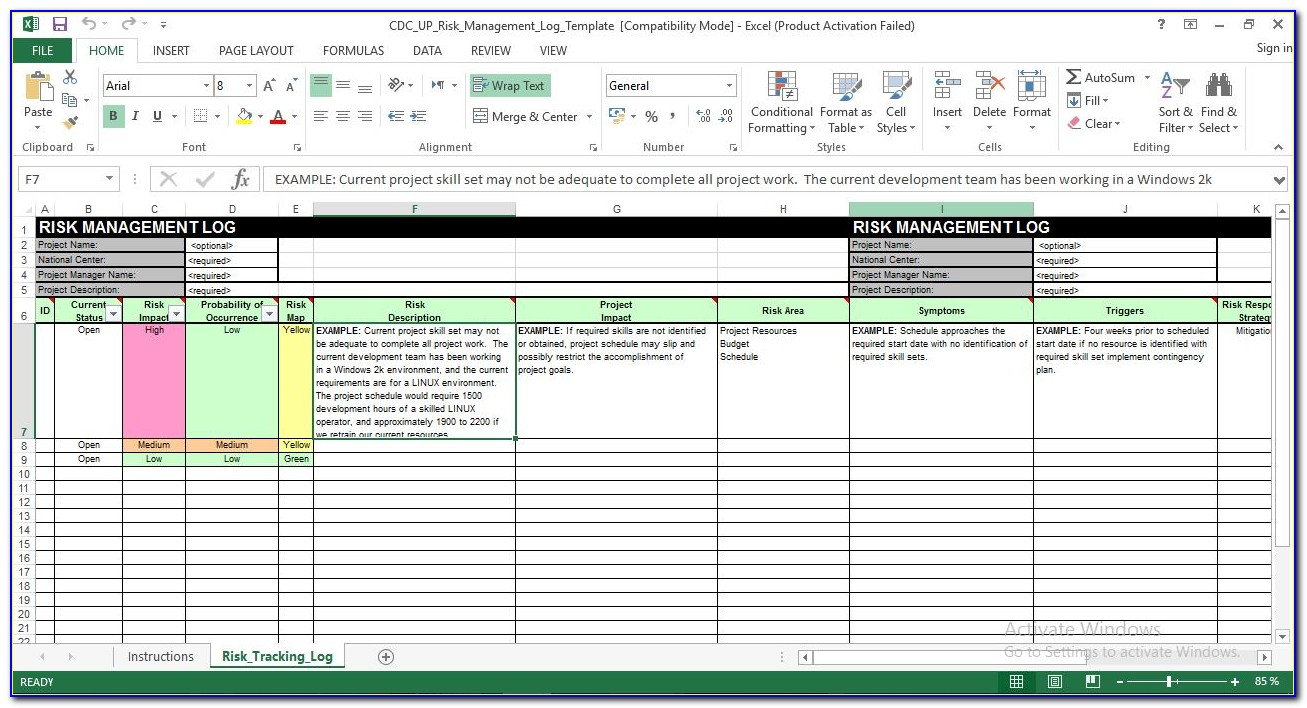 Financial Risk Management Excel Template