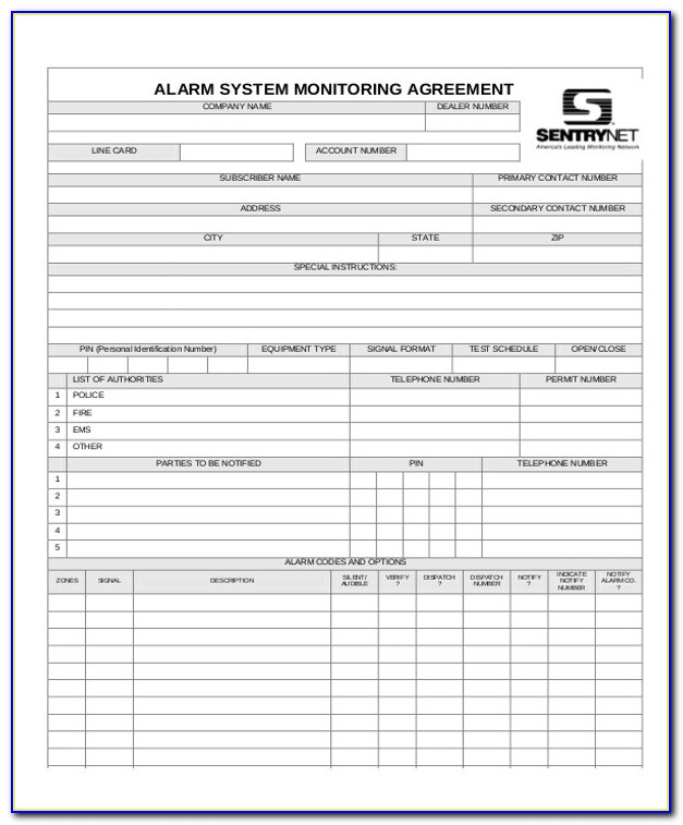 Fire Alarm Monitoring Contract Template