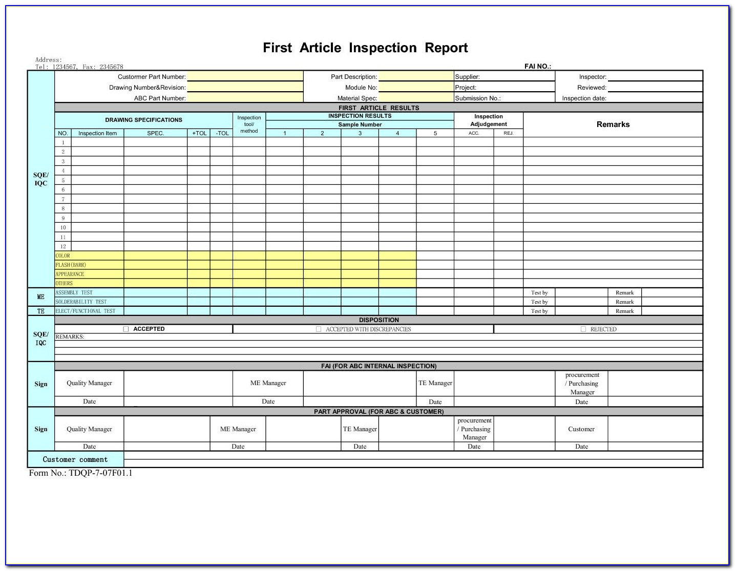 First Article Inspection Format